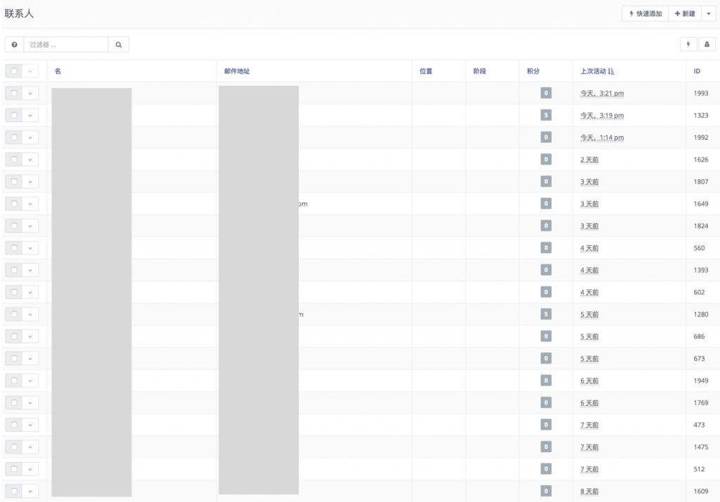 一服客营销自动化系统联系人列表