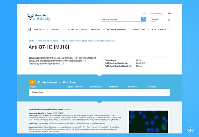 使用Ajax调用的抗体产品页面可以提取不同级别的产品信息